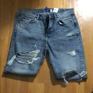 H&M divided distressed jeans
